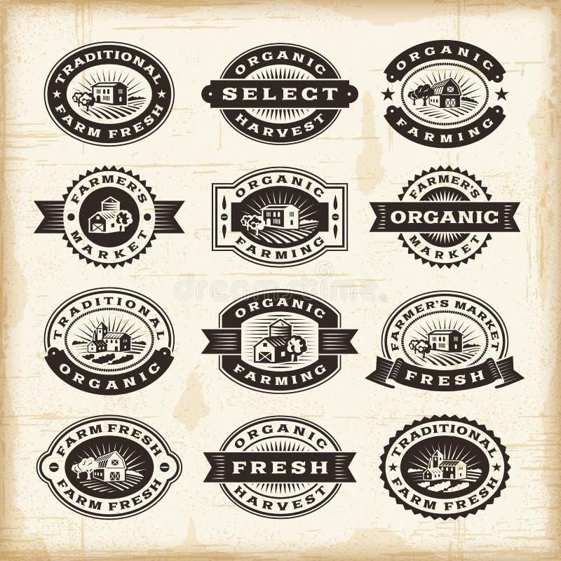Free Vintage Organic Farming Stamps Set Stock Photography - 34050022