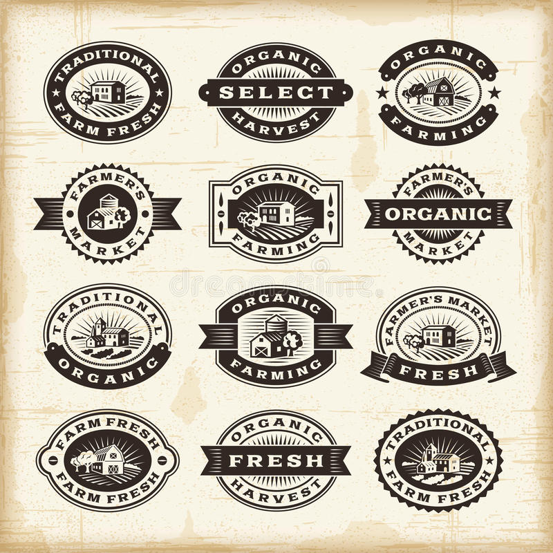 Vintage organic farming stamps set stock illustration