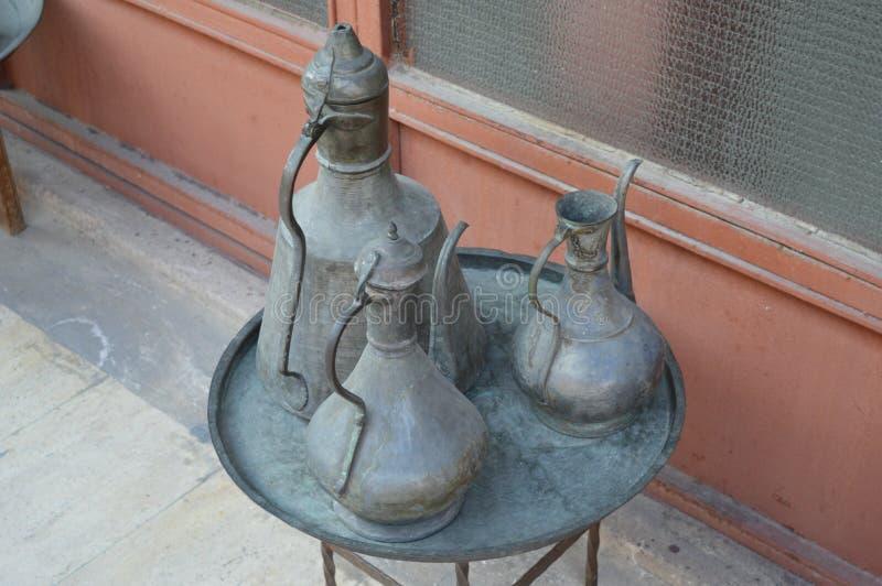 Vintage oriental turkish kettle for tea stock image