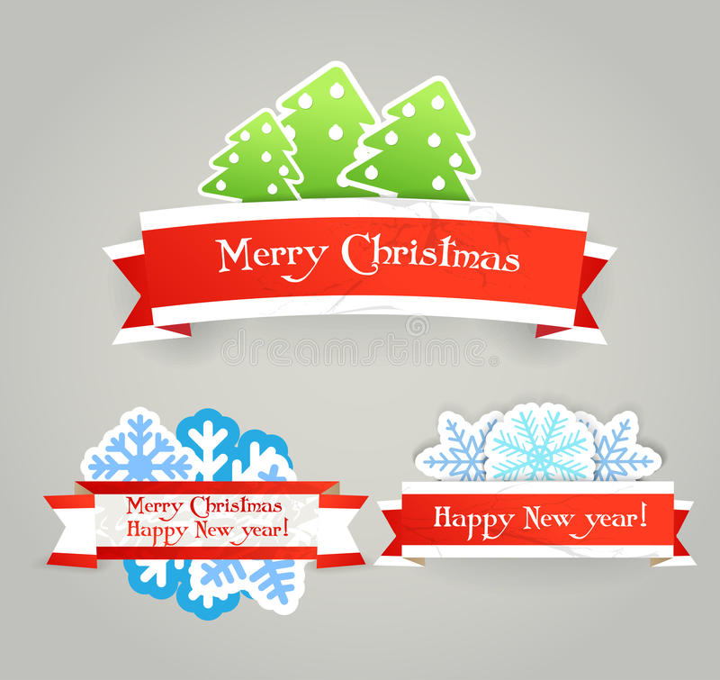 Vintage Origami Christmas Banners Stock Photo