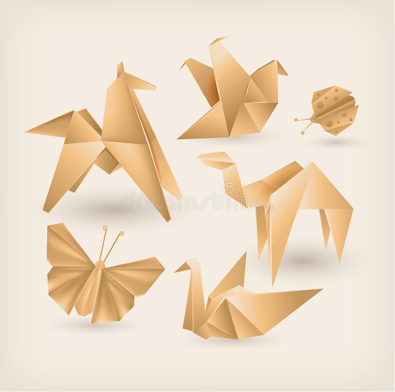 Vintage origami icons set. Vector stock illustration