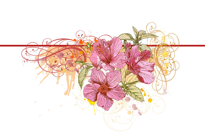 Vintage ornament & flowers stock illustration