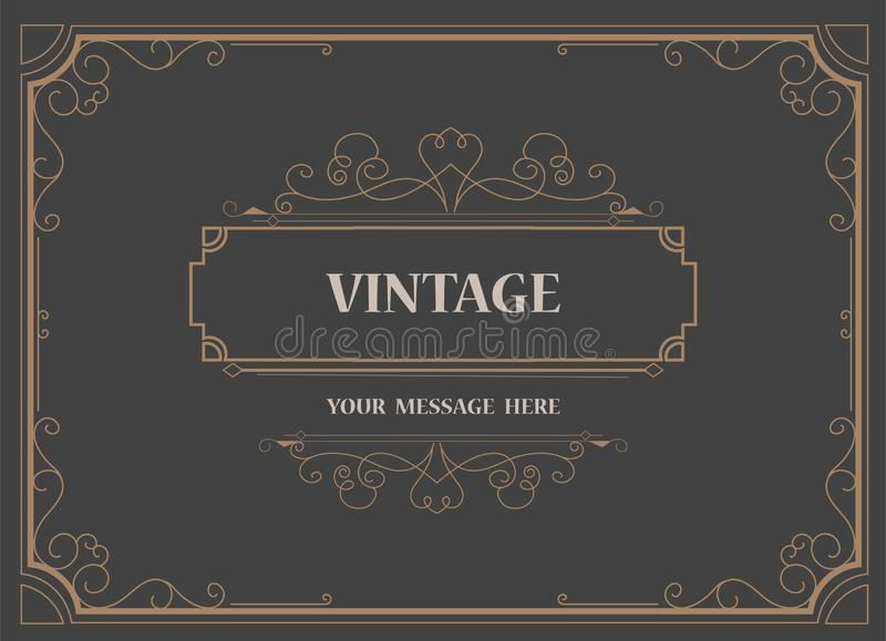 Vintage Ornament Greeting Card Vector Template and retro invitation design background, can be used for wedding flourishes. Ornaments frame stock illustration