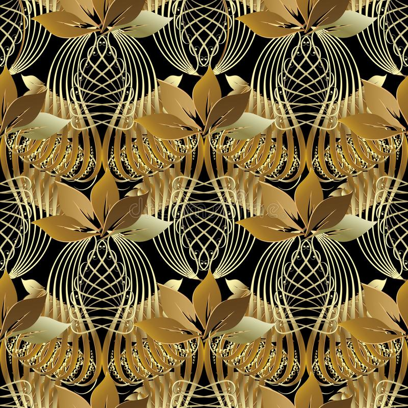 Free Vintage Ornamental 3d Abstract Seamless Pattern. Vector Leafy Pa Stock Photo - 114832840