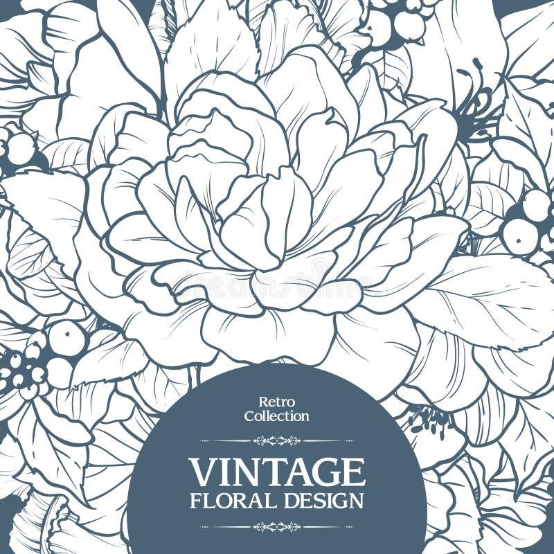Vintage ornamental frame floral background design.Template card invitation banner with beautiful flowers. vector illustration