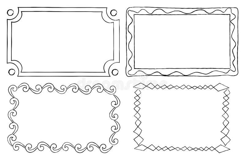 Vintage Ornamental Frames In Linear Graphic Style Stock Vector ...