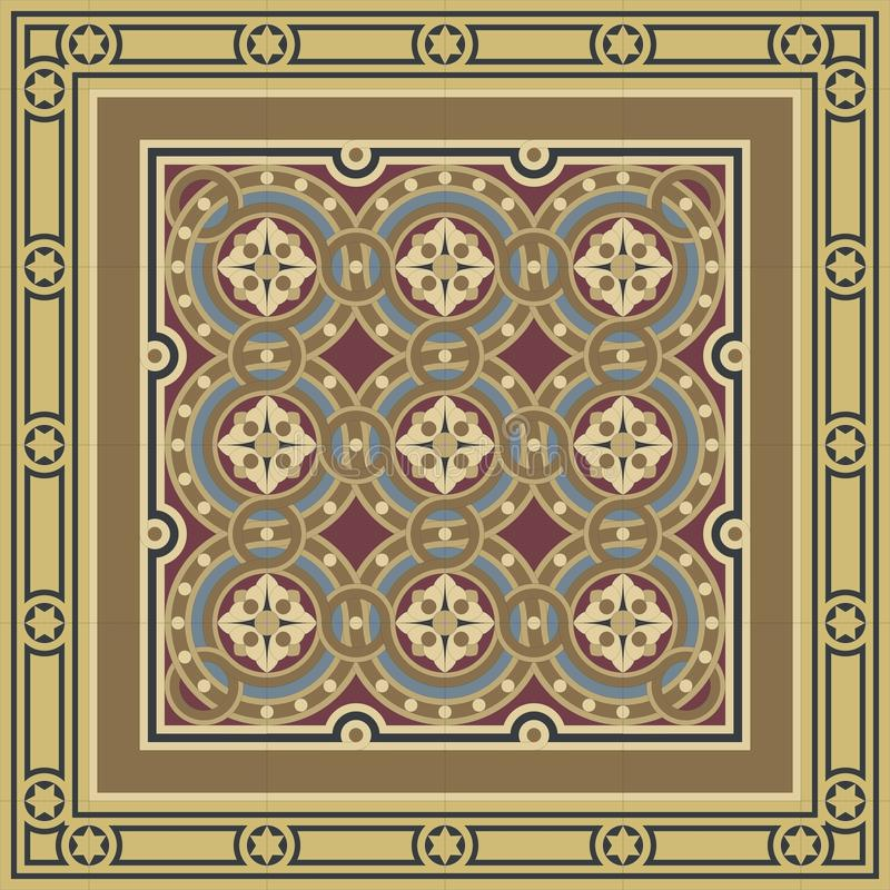 Vintage ornamental tile set with border stock illustration