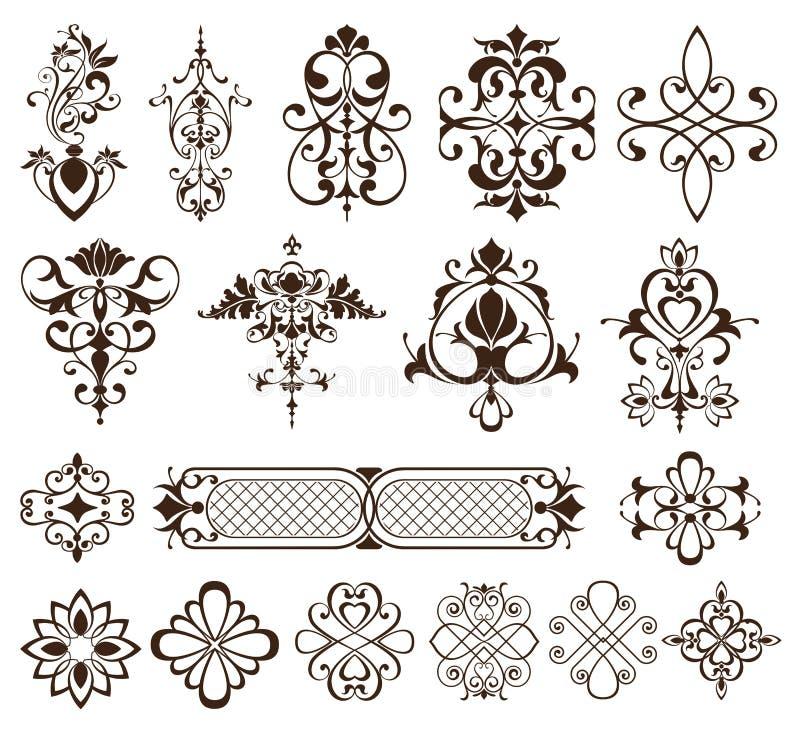 Vintage Ornaments Design Elements Curbs, Frames, Stickers, Patterns. Illustration of white background stock illustration