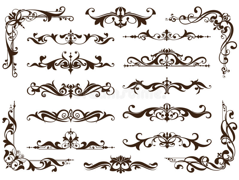 Vintage ornaments design elements floral curlicues white background curbs frame corners stickers. Borders, monograms and dividers vector illustration
