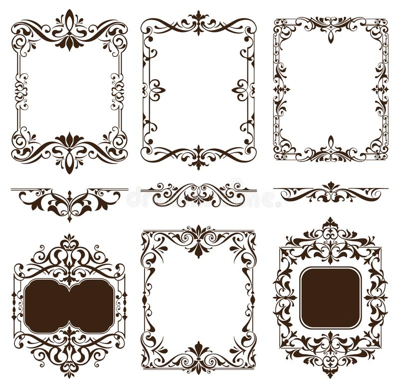 Vintage ornaments design elements floral curlicues white background curbs frame corners stickers stock illustration
