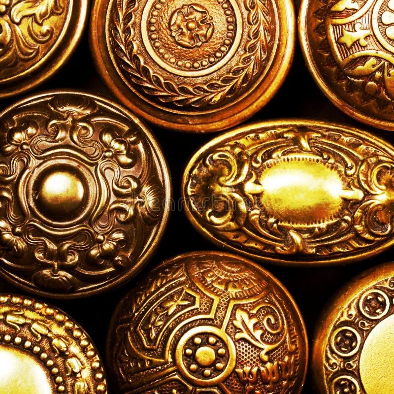Vintage ornate brass door handles royalty free stock images