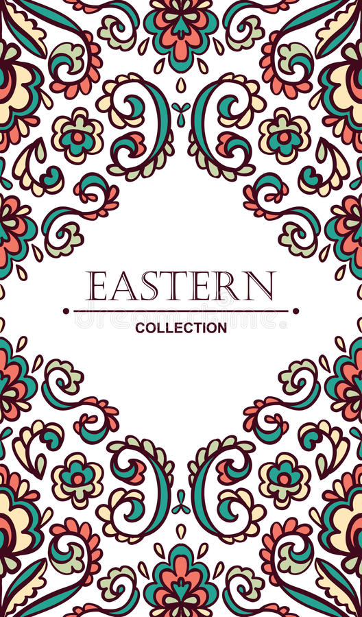 Vintage ornate card with Eastern floral elements. Filigree vector border with place for your text. stock illustration