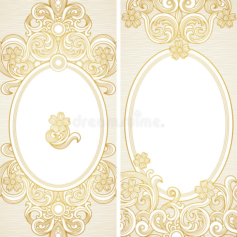 Vintage ornate cards with flowers and curls. vector illustration