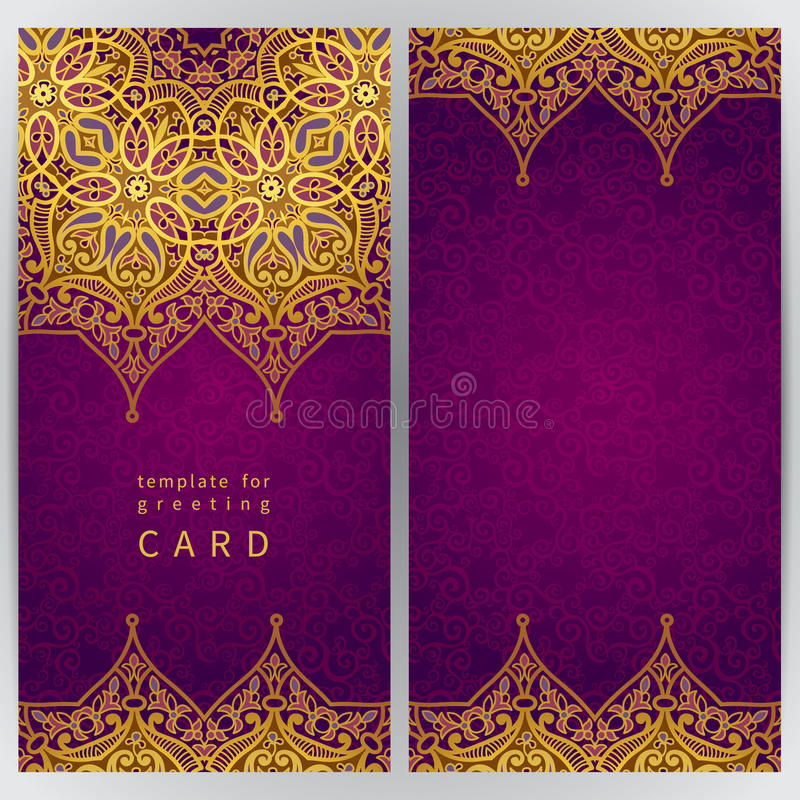 Vintage ornate cards in oriental style. Golden Eastern floral decor. Template frame for greeting card and wedding invitation. Ornate vector border and place vector illustration