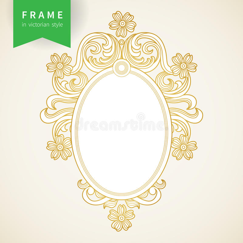 Vintage ornate frame with place for your text. stock illustration