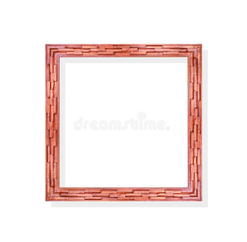 Vintage ornate photo frames in wood chips patterns isolated on white background with clipping path stock photography