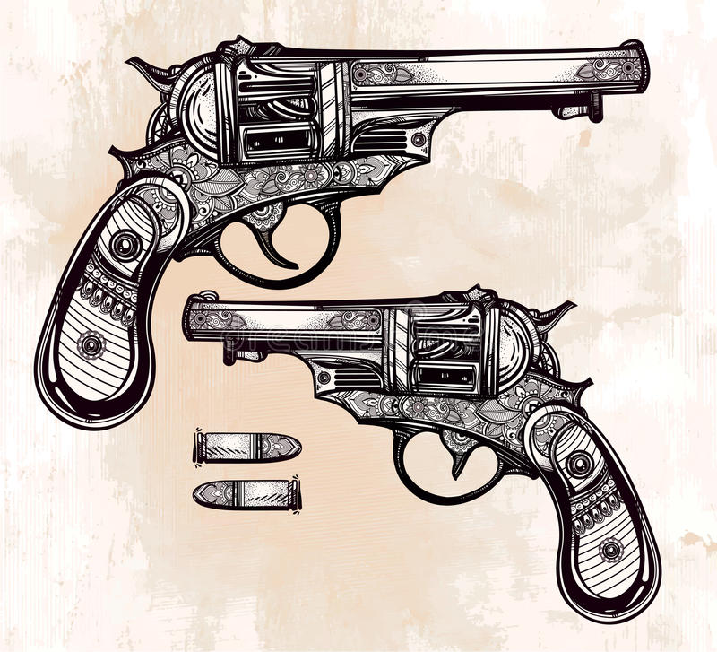 Vintage ornate pistol illustration stock vector for Tattoo gun prices