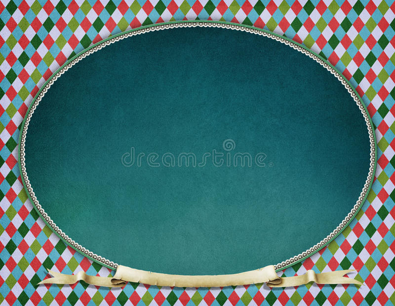 Vintage oval frame. Background for greeting card or poster of New Year or Xmas with Vintage oval frame. Computer graphics stock illustration