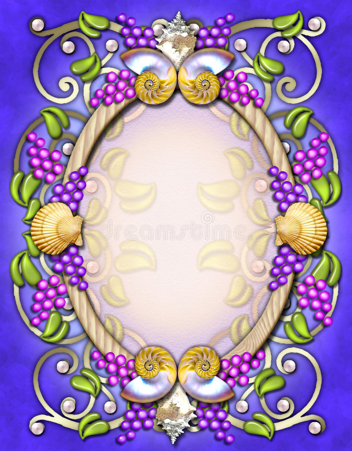 Vintage oval frame with berries & shells stock image