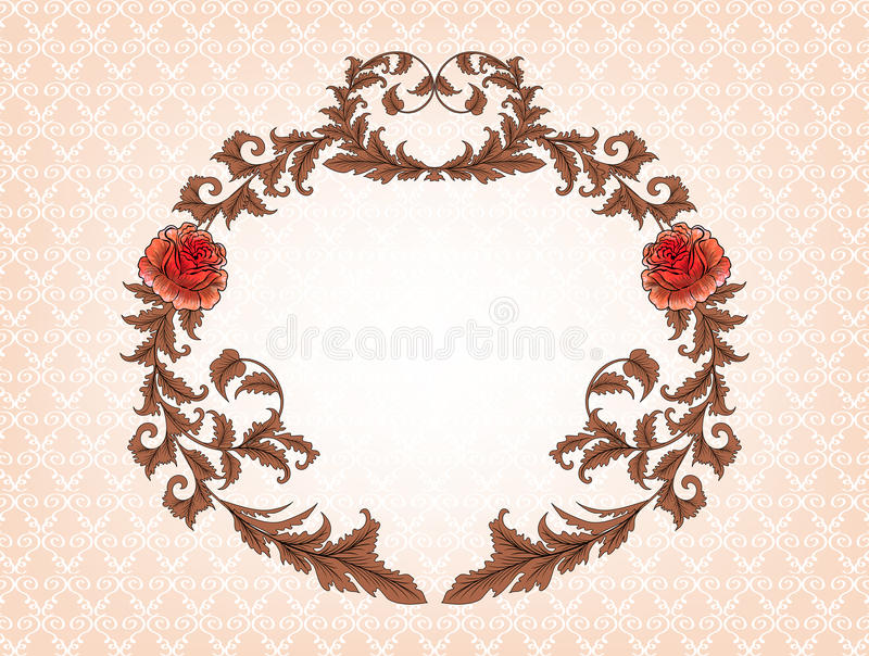 Download Vintage Oval Frame With Brown Leaves And Red Roses Stock Vector