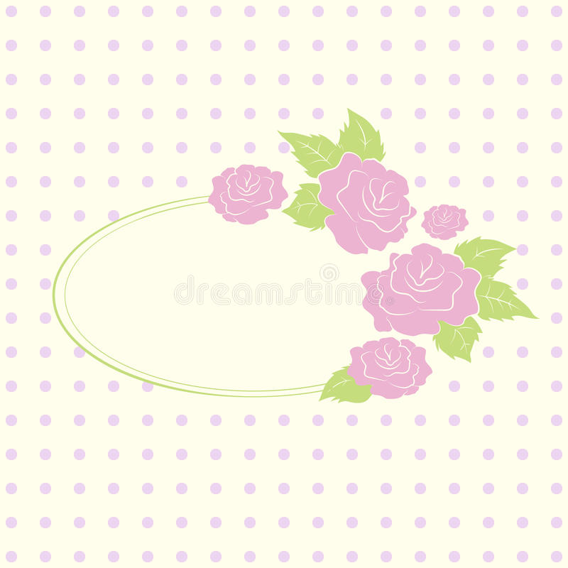 Download Vintage Oval Frame With Color Roses And Space For Stock Vector