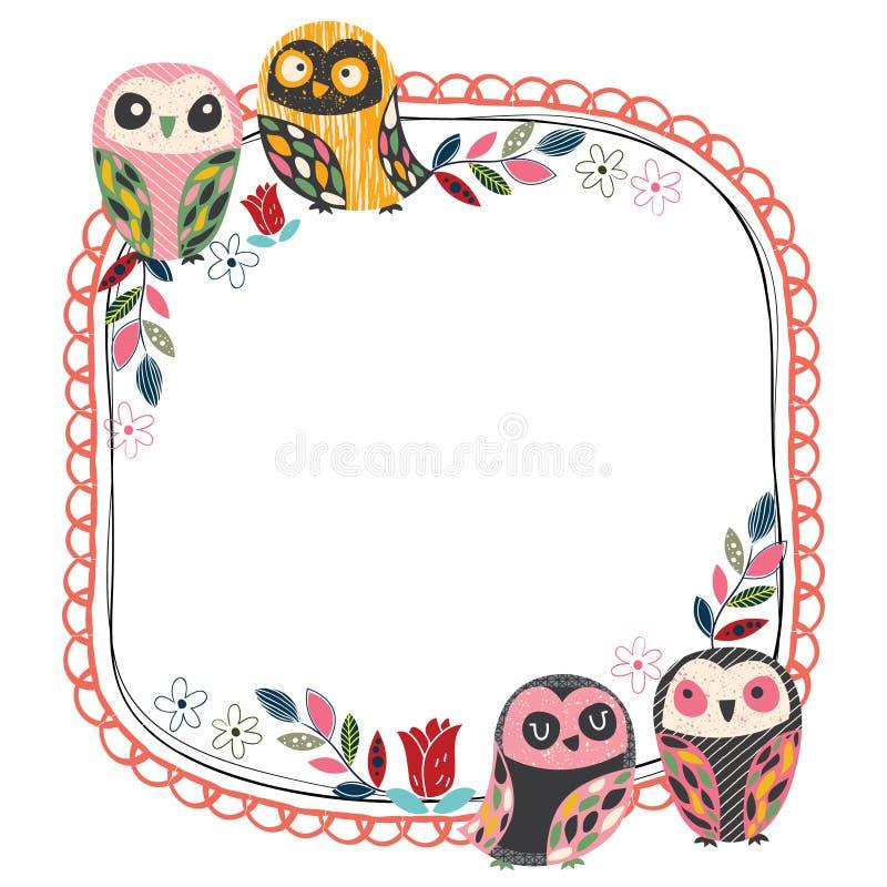 Vintage owl frame layout 1 stock vector. Illustration of modern ...