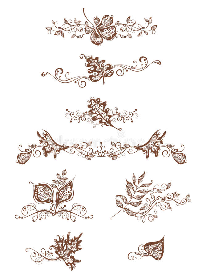 Vintage page decorations with leaves. Ornate design elements, vintage page decorations and dividers, flourishes. Isolated on white background stock illustration