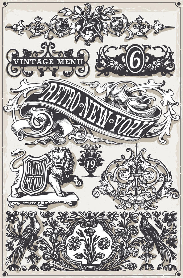 Vintage Page Hand Drawn Banners and Labels stock illustration