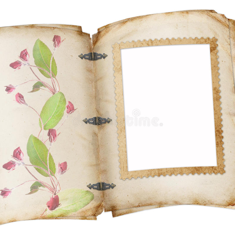 Vintage page of old photo album. In scrap-booking style stock illustration