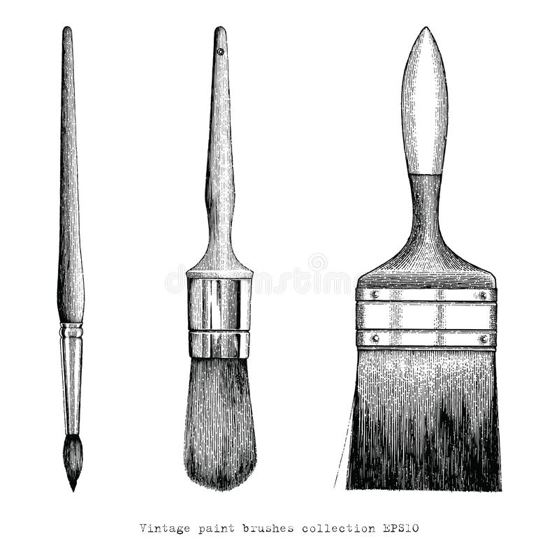 Vintage paint brushes collection hand drawing royalty free illustration