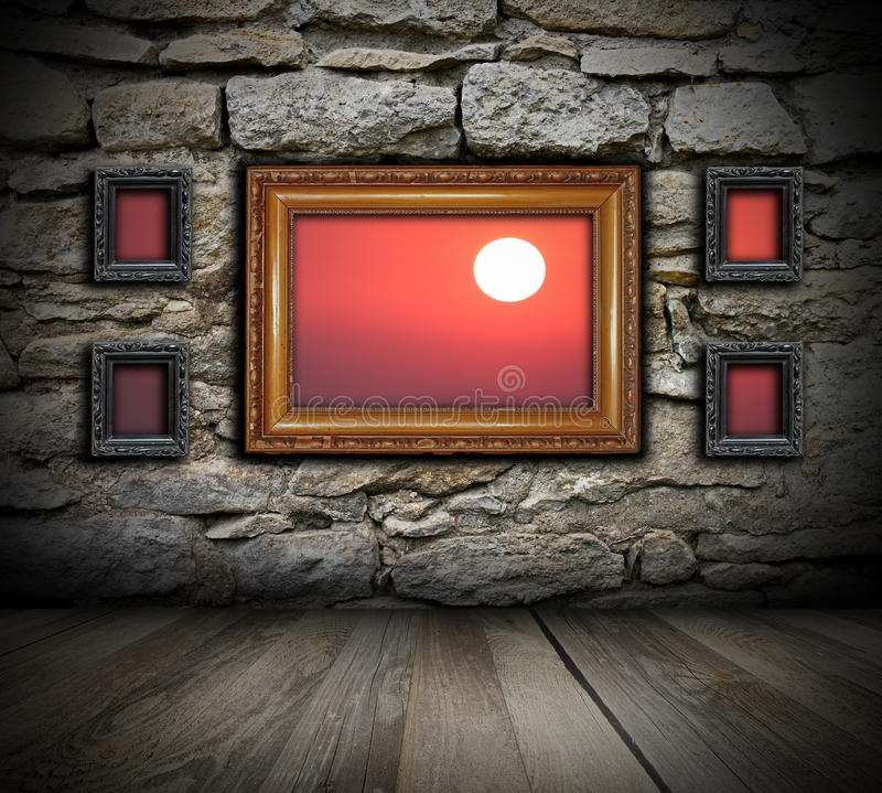 Vintage painting frames like windows on wall stock photo