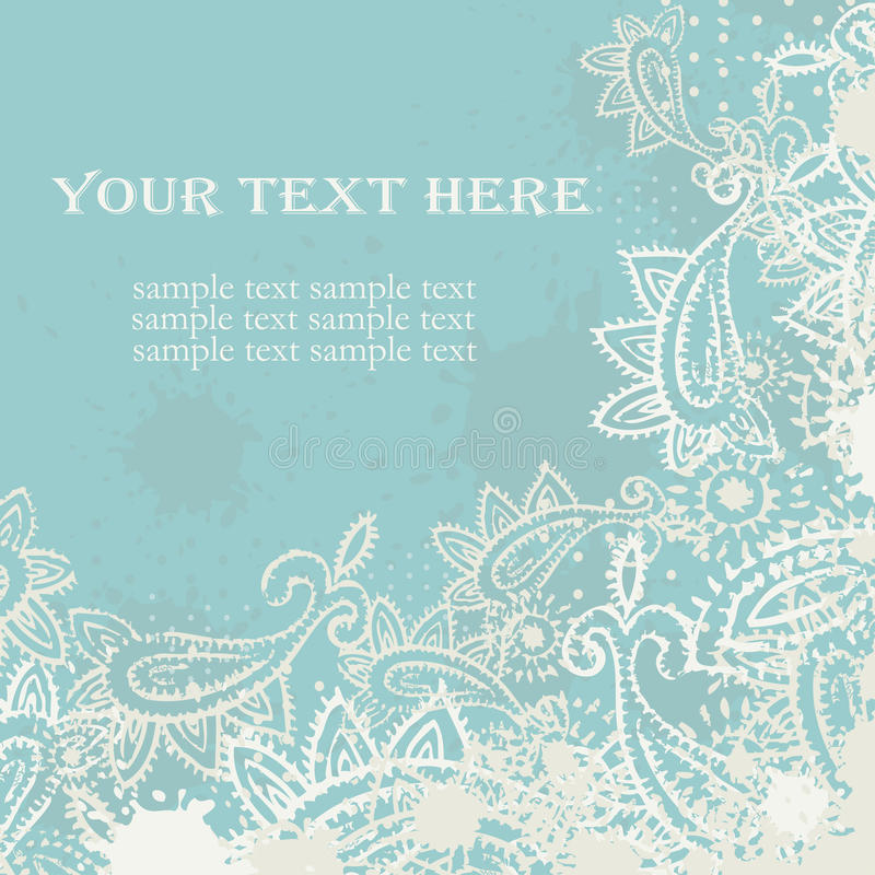 Download Vintage Paisley Elements Greeting Card Stock Vector - Image: 25773608