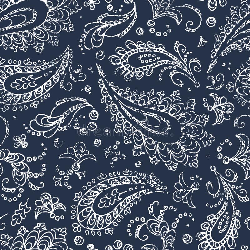 Vintage paisley ornament - seamless pattern. Grunge texture. White flowers, leaves and curls on a blue background. Handmade. vector illustration