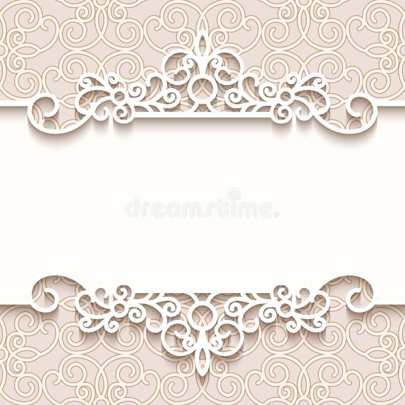 Vintage Background With Paper Border Decoration, Divider, Header,  Ornamental Frame Template