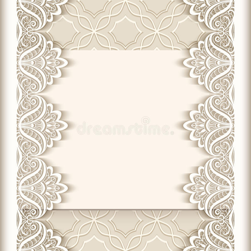Wedding Boarder Paper: Vintage Paper Background With Lace Borders Stock Vector