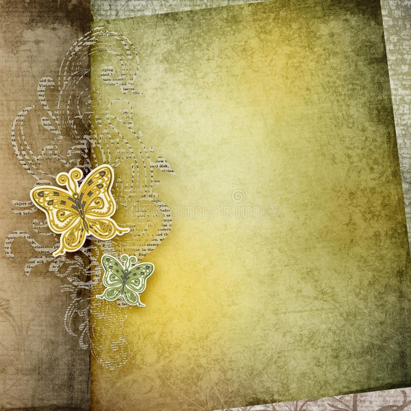 Vintage paper background. Old paper texture card design. Paper butterfly stock illustration