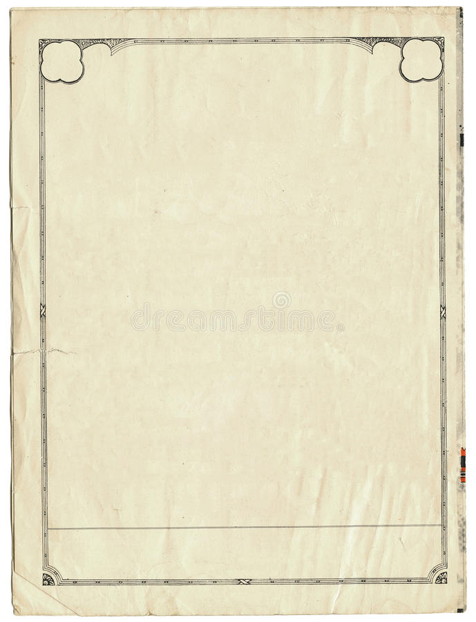 Download Vintage Paper With Border Stock Image Of Yellow