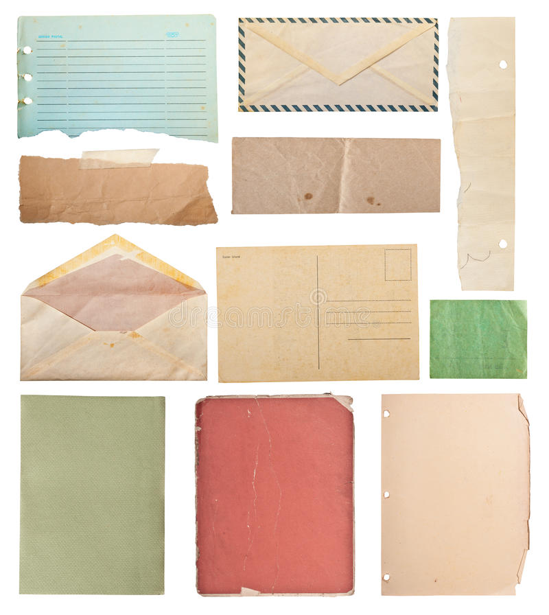Vintage paper collection 2. Vintage paper collection, isolated in white background, clipping paths stock images