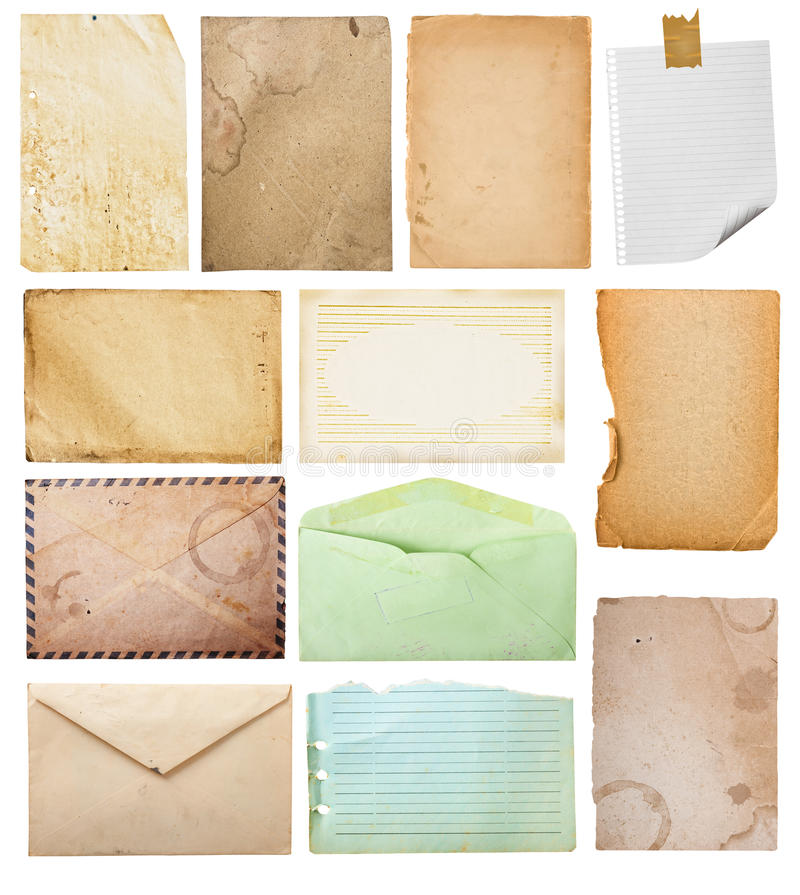 Vintage paper collection. Vintage paper collection, isolated in white background, clipping paths stock image