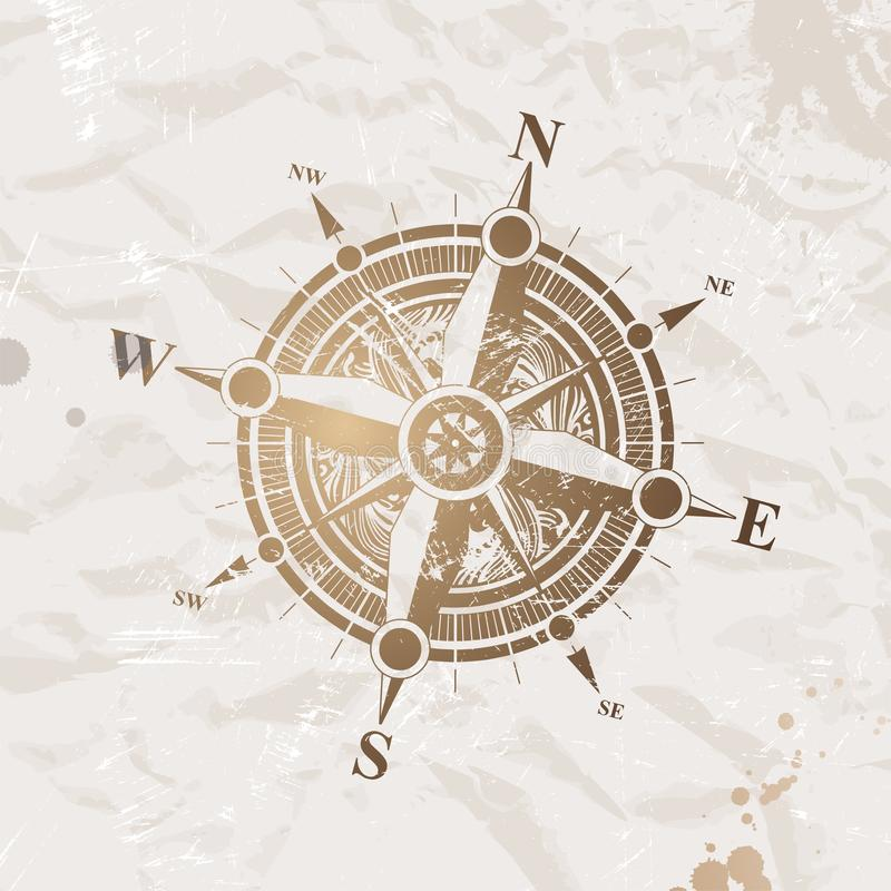 Download Vintage Paper With Compass Rose Stock Vector - Image: 11164257