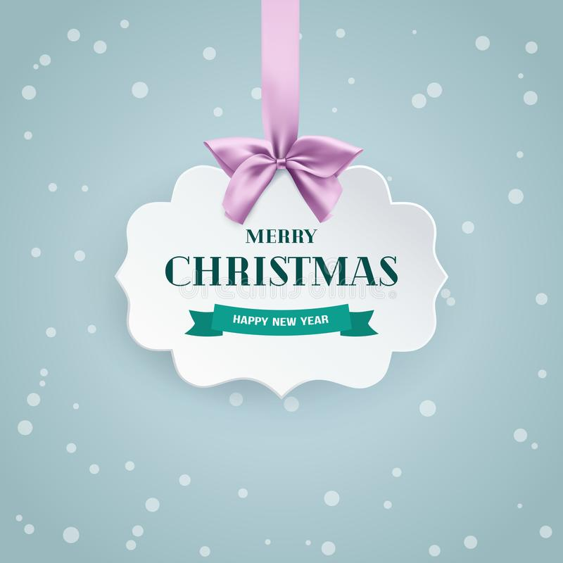 Vintage paper 3D banner with pink bow and ribbon on the soft winter background with falling snow. vector illustration