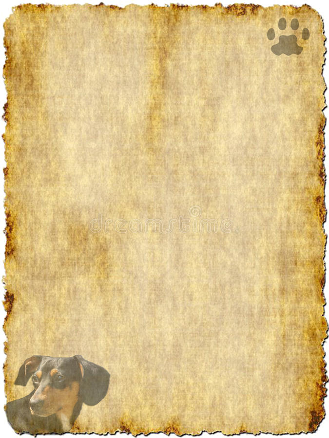 Vintage Paper with Dachshund royalty free stock image