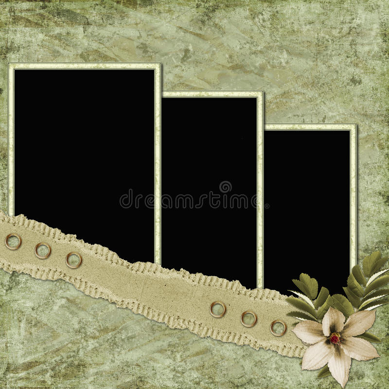Vintage paper with frames. In scrapbooking style royalty free illustration