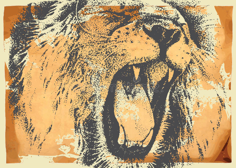 Vintage paper and lion stock illustration