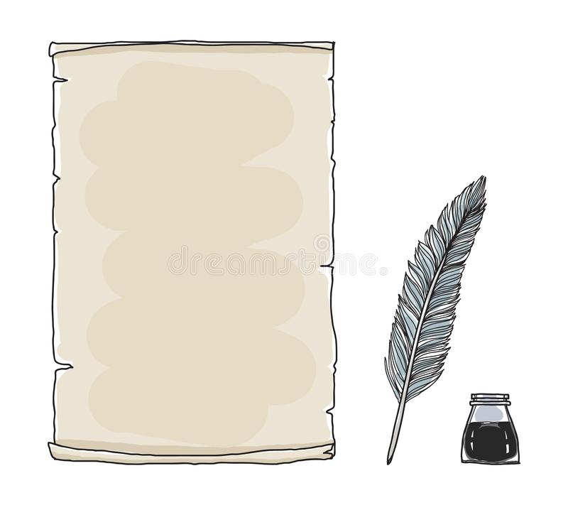 Vintage paper notebook and feather pen hand drawn vector art il. Lustration vector illustration