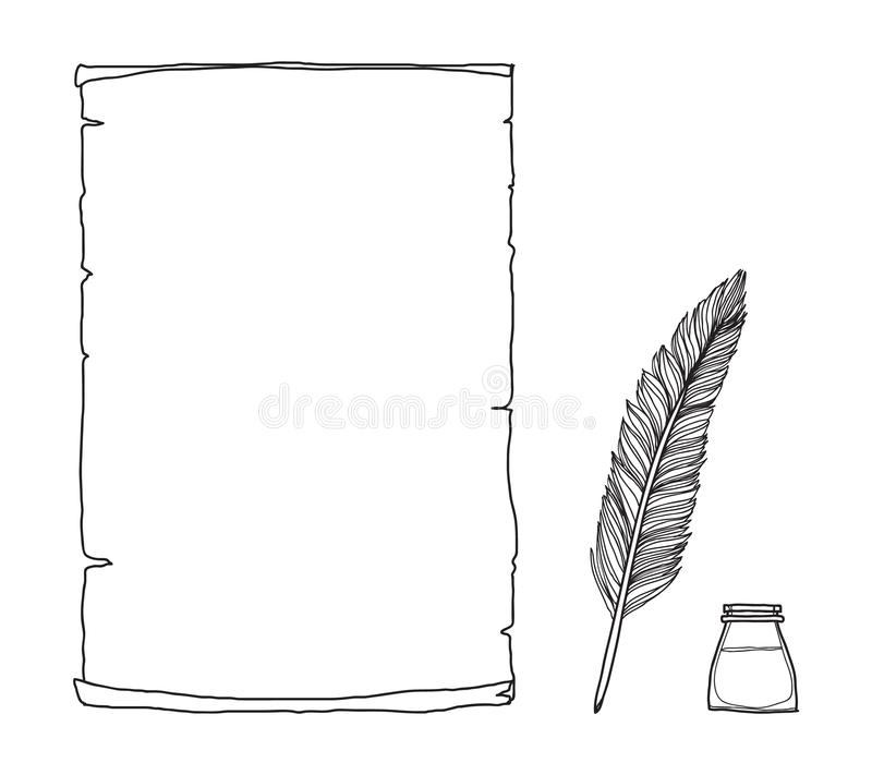 Vintage paper notebook and  feather pen hand drawn vector line art illustration.  stock illustration