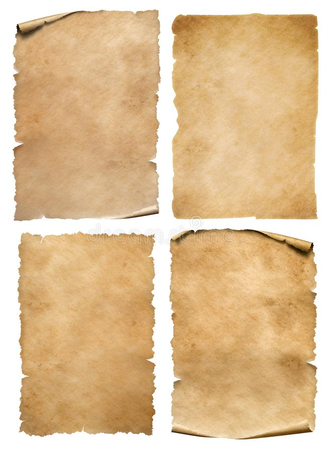 Vintage paper or parchment sheets set isolated on white stock photo