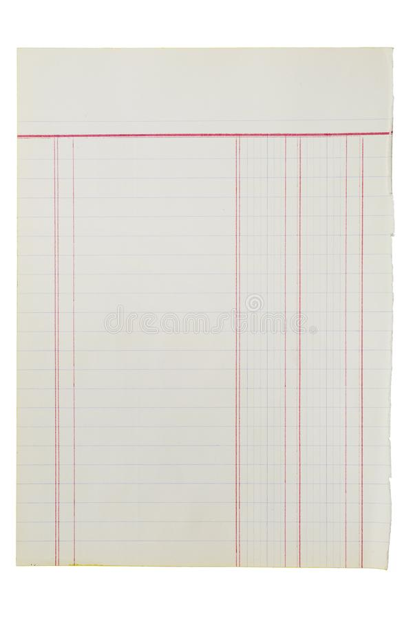 Vintage blank notebook sheet. Isolated over white background royalty free stock image