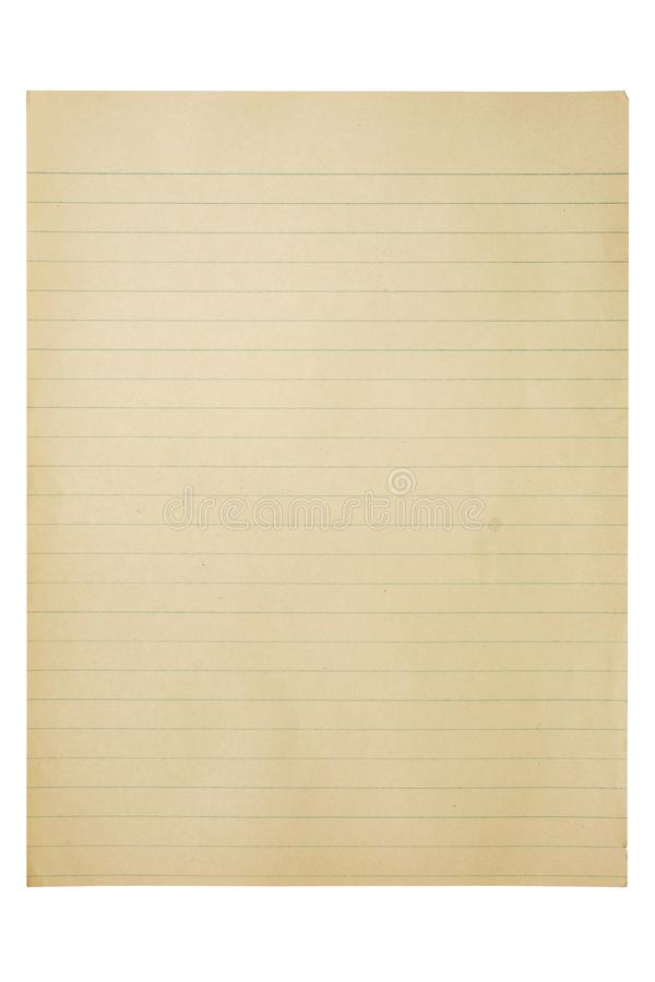 Vintage paper sheet isolated. Over white background stock photo