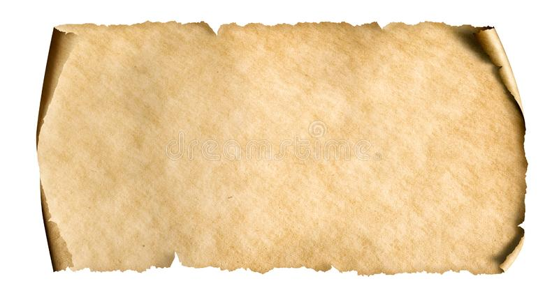 Vintage paper sheet isolated on white. Horizontal old paper sheet isolated on white royalty free stock photos